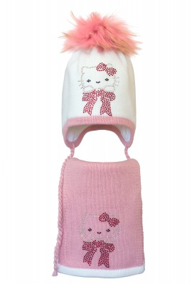 Комплект (шапка и шарф) HATTY Китти на бантике (50 см) Белый с розовым (3/1-4-3)