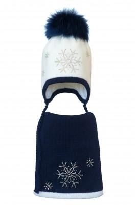 Комплект (шапка и шарф) HATTY Снежинка 4+1 (46 см) Белый с темно синим (3/1-10-7)