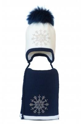 Комплект (шапка и шарф) HATTY Снежинка 3 (50см) Белый с темно синим (3/1-10-8)