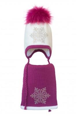 Комплект (шапка и шарф) HATTY Снежинка 6 серебро (46 см) Белый с фуксией (3/1-14-6с)