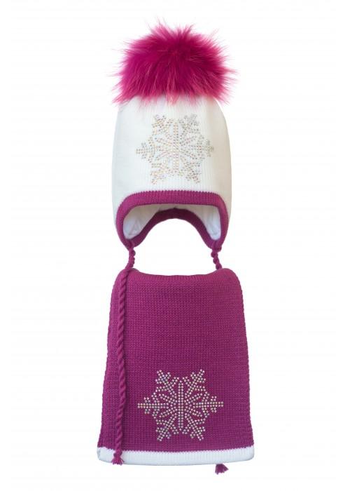 Комплект (шапка и шарф) HATTY Снежинка 6 серебро (54 см) Белый с фуксией (3/1-14-6с)