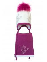 Комплект (шапка и шарф) HATTY Бабочки (48 см) Белый с фуксией (3/1-14-9)