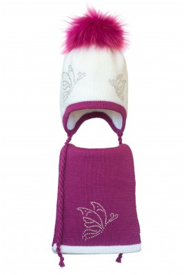 Комплект (шапка и шарф) HATTY Бабочки (46 см) Белый с фуксией (3/1-14-9)