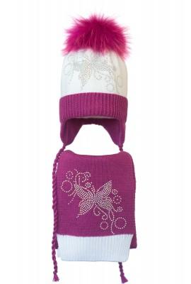 Комплект (шапка и шарф) HATTY Бабочка узор (50 см) Белый с фуксией (4/1-14-10)