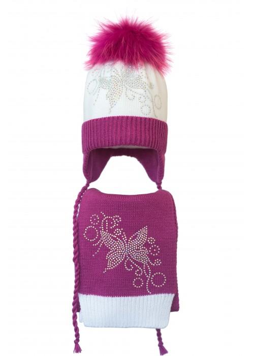 Комплект (шапка и шарф) HATTY Бабочка узор (52 см) Белый с фуксией (4/1-14-10)