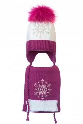 Комплект (шапка и шарф) HATTY Снежинка 3 (50 см) Белый с фуксией (4/1-14-8)