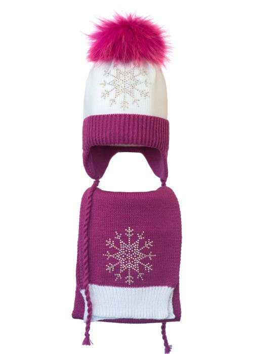 Комплект (шапка и шарф) HATTY Снежинка 3 (52 см) Белый с фуксией (4/1-14-8)