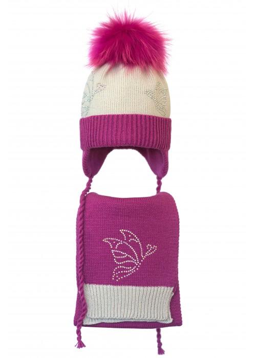 Комплект (шапка и шарф) HATTY Бабочки (52 см) Жемчуг с фуксией (4/3-14-9)