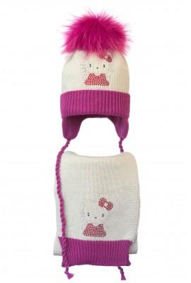 Комплект (шапка и шарф) HATTY Китти в платье (52 см) Жемчуг с фуксией (4/3-14-2)