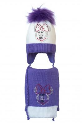 Комплект (шапка и шарф) HATTY Мини Маус (50 см) Белый с сиреневым (5/1-8-4)
