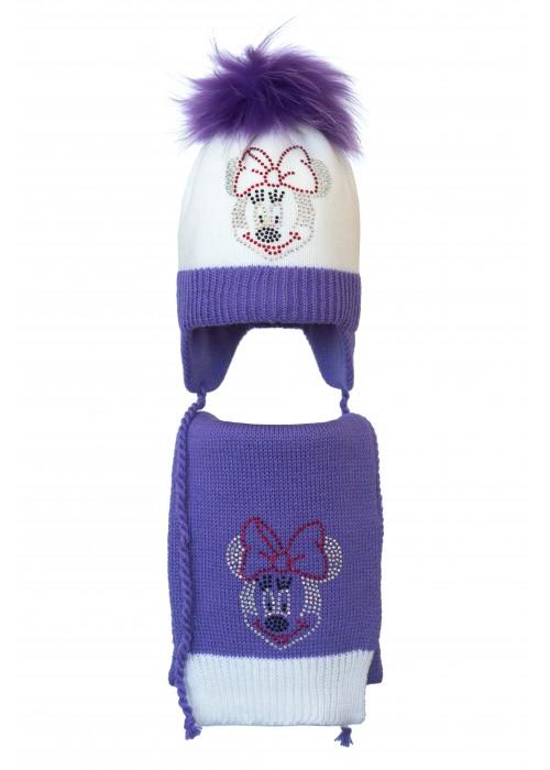 Комплект (шапка и шарф) HATTY Мини Маус (52 см) Белый с сиреневым (5/1-8-4)