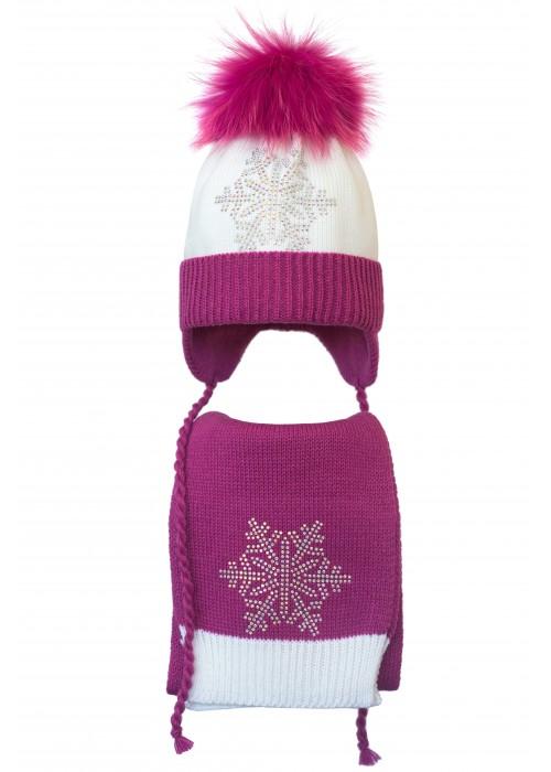 Комплект (шапка и шарф) HATTY Снежинка 6с (52 см) Белый с фуксией (4/1-14-6с)