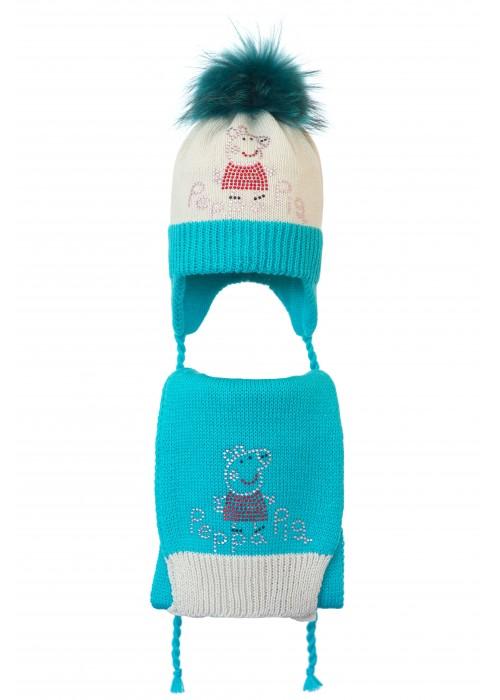 Комплект (шапка и шарф) HATTY Свинка Пеппа (50 см) Жемчуг с бирюзовым (5/3-9-5)