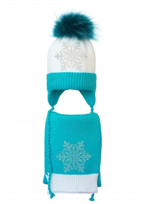 Комплект (шапка и шарф) HATTY Снежинка 6с (52 см) Белый с бирюзовым (4/1-9-6с)