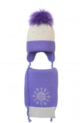 Комплект (шапка и шарф) HATTY Снежинка 3 (52 см) Жемчуг с сиреневым (4/3-8-8)