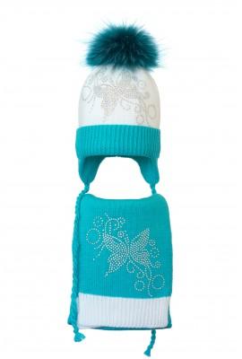 Комплект (шапка и шарф) HATTY Бабочка узор (50 см) Белый с бирюзовым (4/1-9-10)
