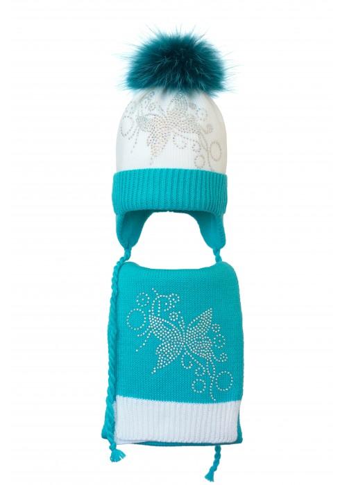 Комплект (шапка и шарф) HATTY Бабочка узор (52 см) Белый с бирюзовым (4/1-9-10)
