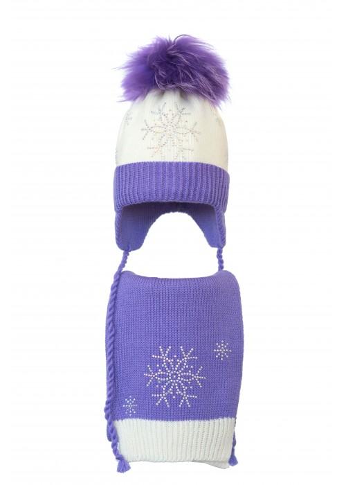 Комплект (шапка и шарф) HATTY Снежинка 4+1 (50 см) Молочная с сиреневым (4/2-8-7)
