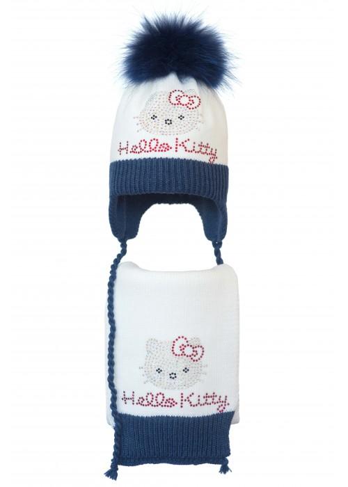 Комплект (шапка и шарф) HATTY Hello Kitty (52 см) Белый с синим меланжем (5/1-12-1к)