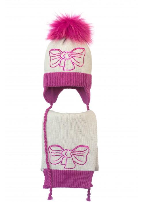 Комплект (шапка и шарф) HATTY Бант малиновый (50 см)  Жемчуг с фуксией (5/3-14-11м)