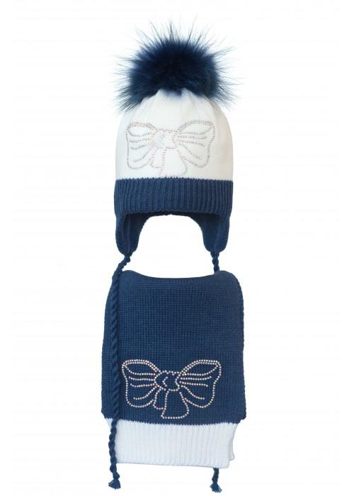 Комплект (шапка и шарф) HATTY Бант (52 см) Белый с синим меланжем (5/1-12-11с)