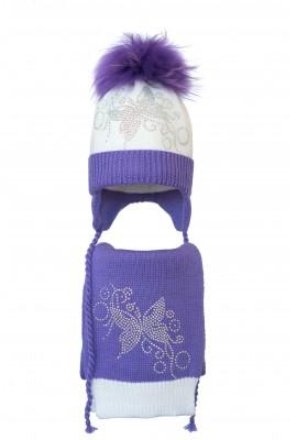 Комплект (шапка и шарф) HATTY Бабочка узор  (52 cм) Белая с сиреневым (4/1-8-10)