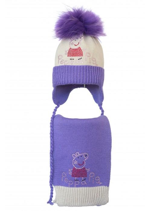 Комплект (шапка и шарф) HATTY  Свинка Пеппа (50 см) Жемчуг с сиреневым (4/3-8-5)