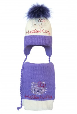 Комплект (шапка и шарф) HATTY Hello Kitty (52см) Молочная с сиреневым (4/2-8-1к)