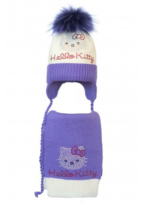 Комплект (шапка и шарф) HATTY Hello Kitty (50 см) Молочная с сиреневым (4/2-8-1к)