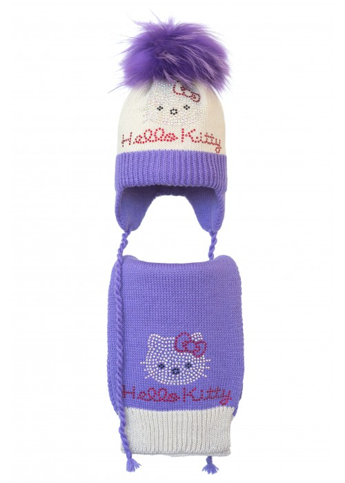 Комплект (шапка и шарф) HATTY Hello Kitty (52 см) Жемчуг с сиреневым (5/3-8-1к)