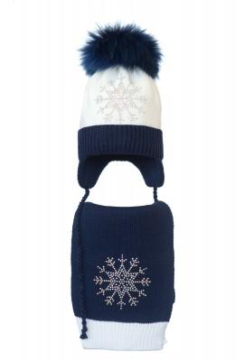 Комплект (шапка и шарф) HATTY Снежинка 3 (52 см) Белый с темно-синим (4/1-10-8)
