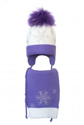 Комплект (шапка и шарф) HATTY Снежинка 4+1 (50 см) Белая с сиреневым (4/1-8-7)