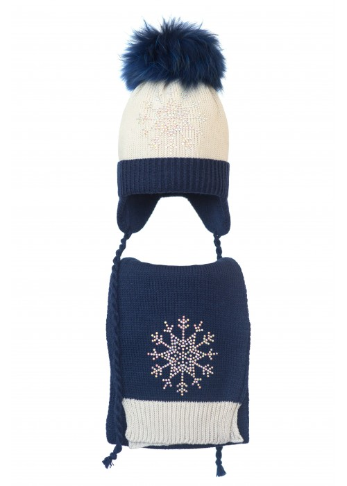 Комплект (шапка и шарф) HATTY Снежинка 3 (52 см) Жемчуг с темно-синим (4/3-10-8)