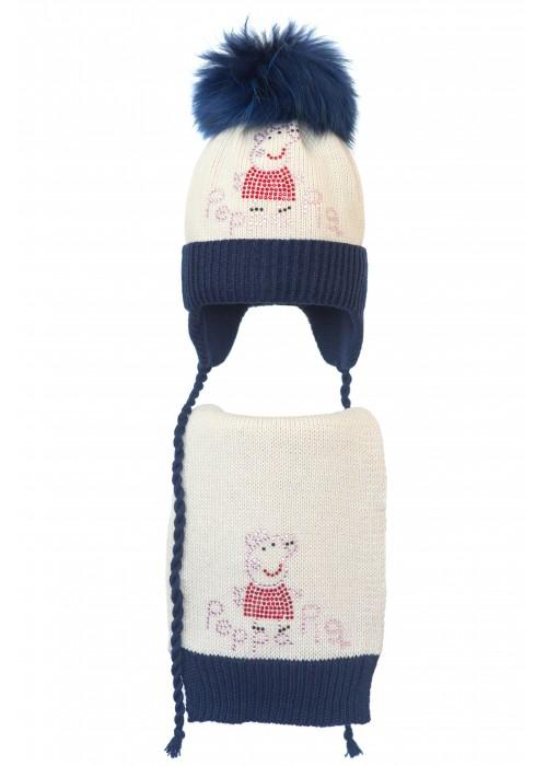 Комплект (шапка и шарф) HATTY Свинка Пеппа (50 см) Жемчуг с темно-синим (4/3-10-5)