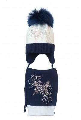 Комплект (шапка и шарф) HATTY Бабочка узор  (52 см)Белый с темно-синим (4/1-10-10)