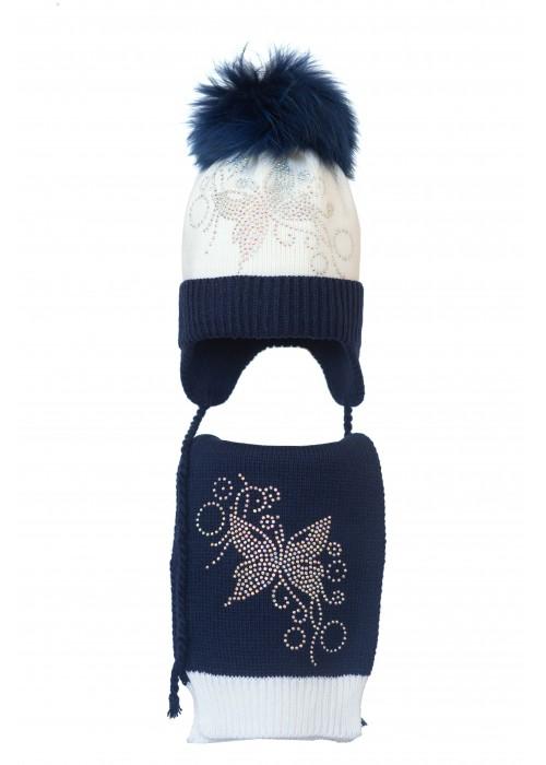 Комплект (шапка и шарф) HATTY Бабочка узор (52 см) Белый с темно-синим (4/1-10-10)