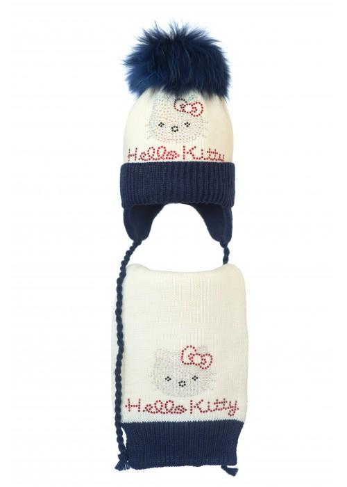 Комплект (шапка и шарф) HATTY Hello Kitty (52 см) Молочный с темно-синим (4/2-10-1к)