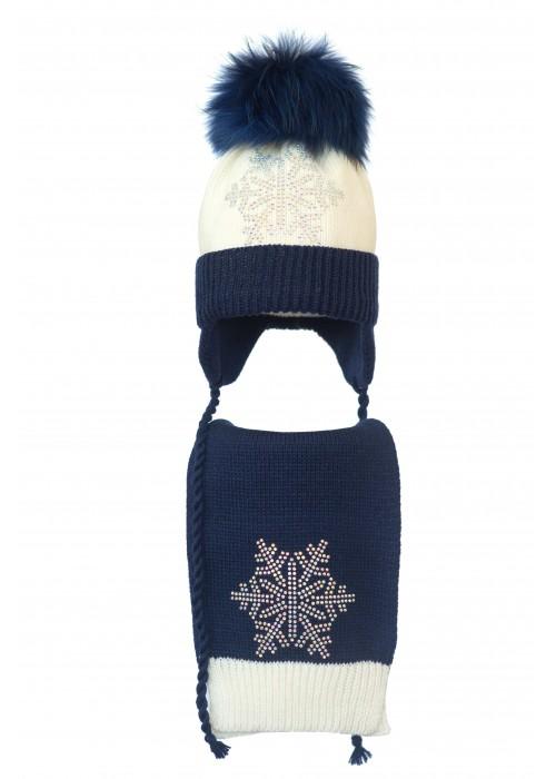 Комплект (шапка и шарф) HATTY Снежинка 6с (50 см) Молочный с темно-синим (4/2-10-6с)