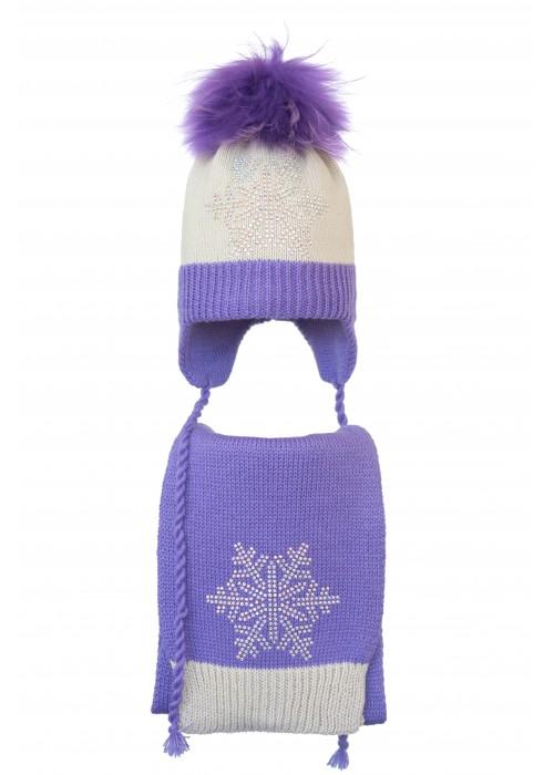 Комплект (шапка и шарф) HATTY Снежинка 6с (50 см) Жемчуг с сиреневым (5/3-8-6с)