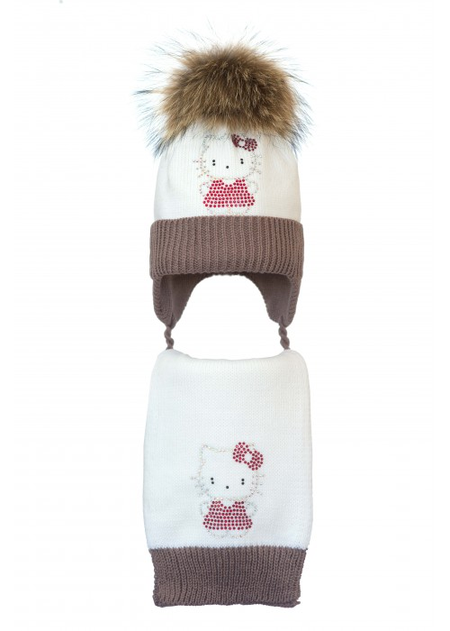 Комплект (шапка и шарф) HATTY Китти в платье (48 см) Белый с какао (4/1-7-2)