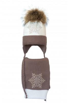 Комплект (шапка и шарф) HATTY Снежинка 6с (48 см) Белый с какао (4/1-7-6с)