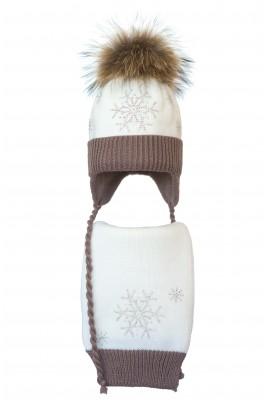 Комплект (шапка и шарф) HATTY Снежинка 4+1 (48 см) Белый с какао (4/1-7-7)