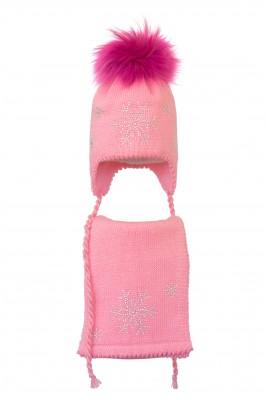 Комплект (шапка и шарф) HATTY Снежинка 4+1 (50 см) Ярко-розовый (6/18-7)