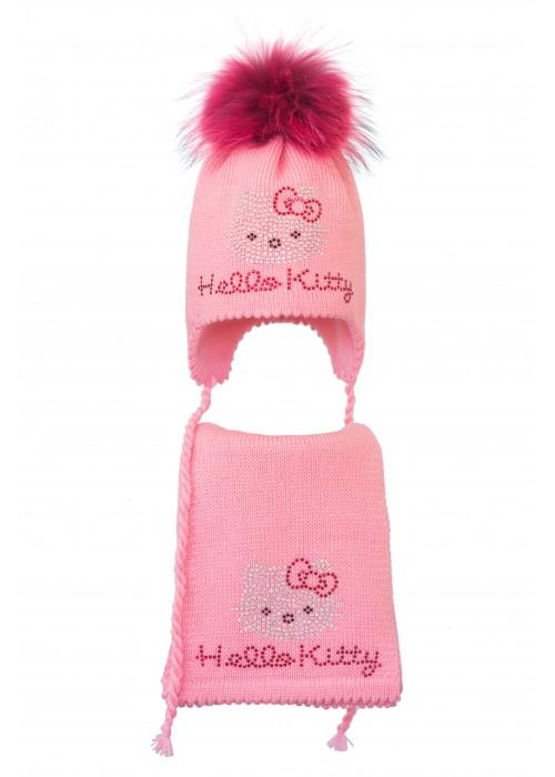 Комплект (шапка и шарф) HATTY Hello Kitty (50 см) Ярко-розовый (6/18-1к)