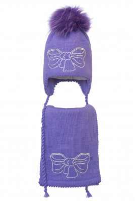 Комплект (шапка и шарф) HATTY Бант (50 см) Сиреневый (6/8-11с)