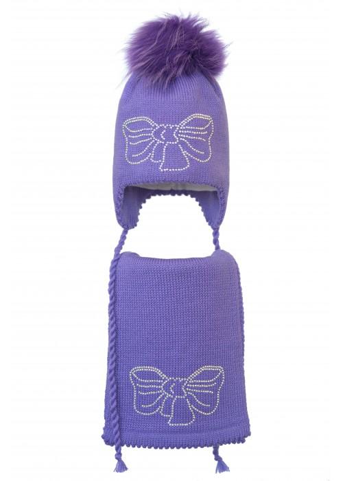 Комплект (шапка и шарф) HATTY Бант (52 см) Сиреневый (6/8-11с)