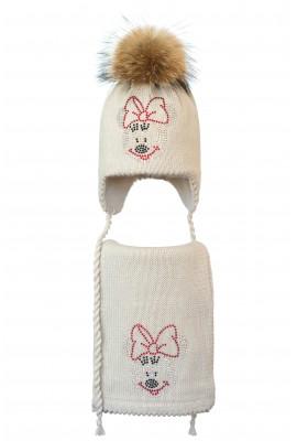 Комплект (шапка и шарф) HATTY Мини Маус (50 см) Жемчужный (6/3-4)