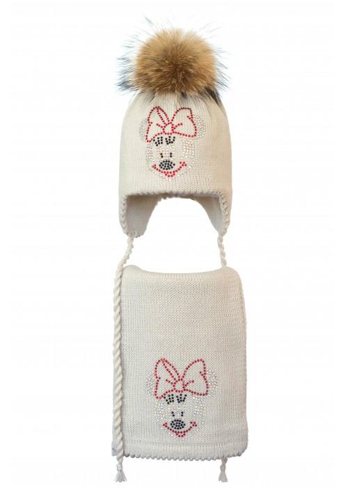 Комплект (шапка и шарф) HATTY Мини Маус (52 см) Жемчужный (6/3-4)