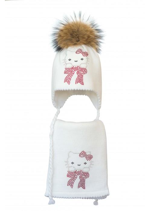 Комплект (шапка и шарф) HATTY Китти на бантике (52 см) Белый (6/1-3)