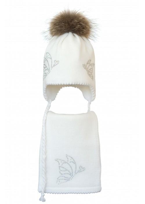 Комплект (шапка и шарф) HATTY Бабочки (52 см) Белый  (6/1-9)